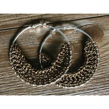 Load image into Gallery viewer, Crocheted Leather Hoop Earrings - Bronze