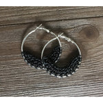 Crocheted Leather Hoop Earrings -  Black