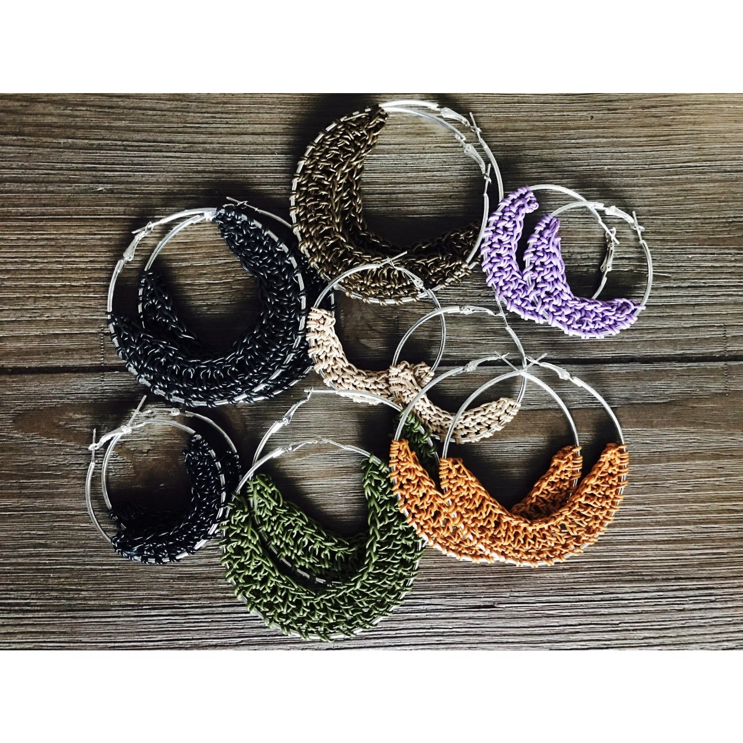 Crocheted Leather Hoop Earrings - Iceburg