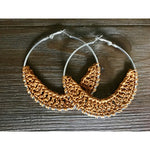 Crocheted Leather Hoop Earrings - Tangerine