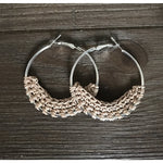 Crocheted Leather Hoop Earrings - Peach