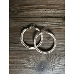 Crocheted Leather Hoop Earrings - Ivory