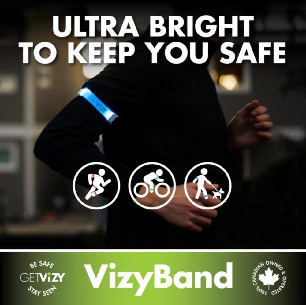 GetVizy Rechargeable LED Armband Light: VizyBand - BlackToe Running Inc. - Toronto Running Specialty Store