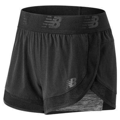 New Balance Women's Mixed Media 2 in 1 Short - BlackToe Running Inc.