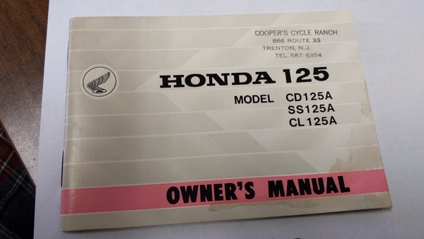 Honda  SS125A CL125A CD125A Owners Manual NOS sku 3778
