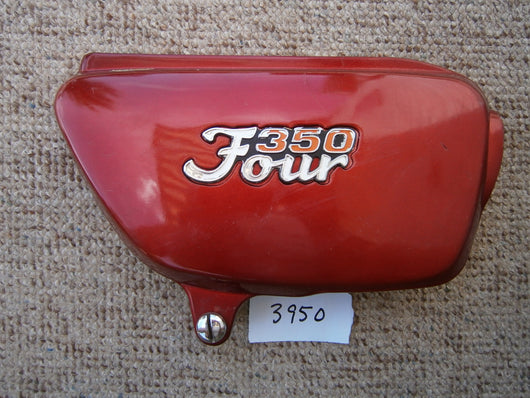 Honda CB350F 350 Four   Sidecover right red with badge 3950