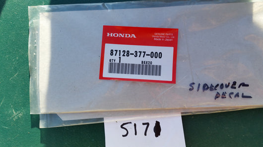 Honda CB400F  NOS Sidecover Decal Honda part 87128-377-000  my sku 5271