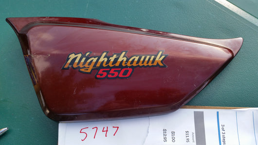 Honda Nighthawk 550 sidecover left Burgundy Honda number 83710-ME4-000 sku 5747