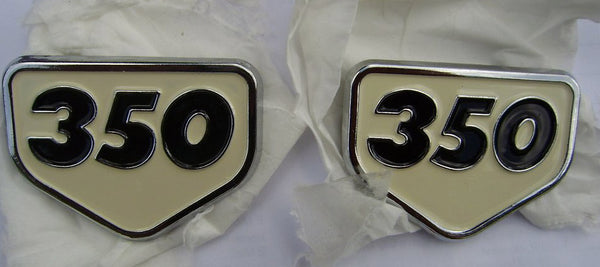 Honda CB350 CL350 Sidecover Badge Pair White sku 6128