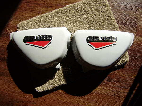 Honda CB100 New White sidecover Pair red decals sku 6153