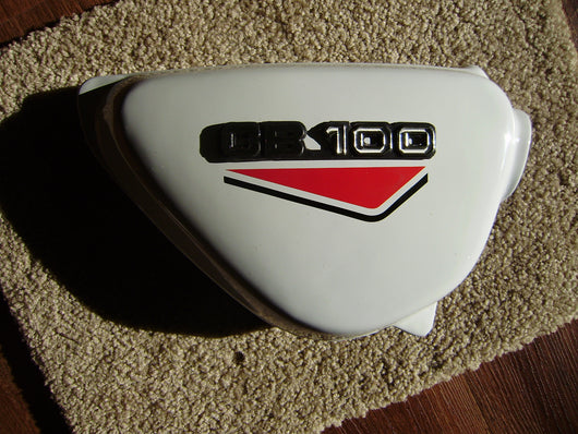 Honda CB100 or CB125  New White sidecover right   red decals sku 6154