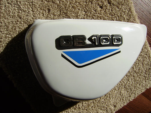 Honda CB100 or CB125  New White sidecover Left  blue decals sku 6157