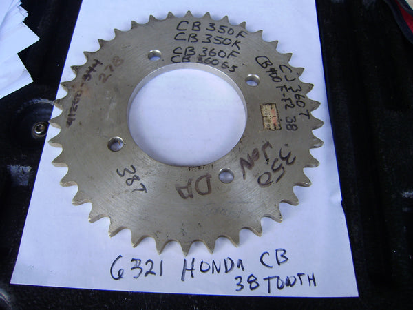 Honda CB350 CL350 CB360 CL360 CB400F  NOS 38 Tooth  rear sprocket sku 6321