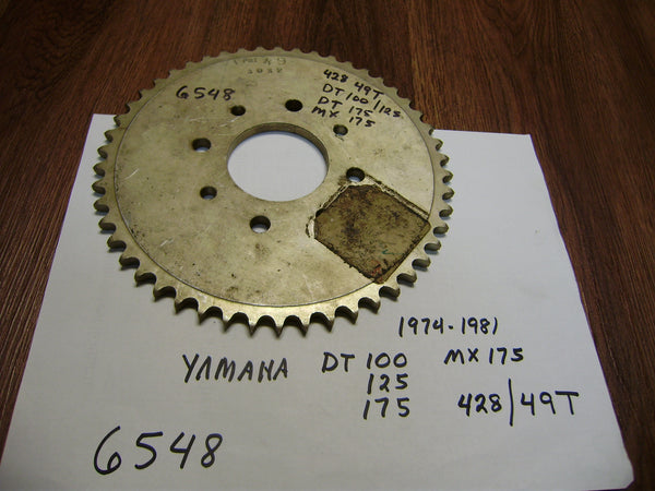 Yamaha Rear Sprocket  DT100 DT125 DT175 MX175 428 chain 49T 4 bolt pattern sku 6548