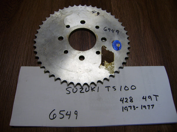 Suzuki Rear Sprocket  DT100 DT125 DT175 MX175 428 chain 49T 4 bolt pattern sku 6549