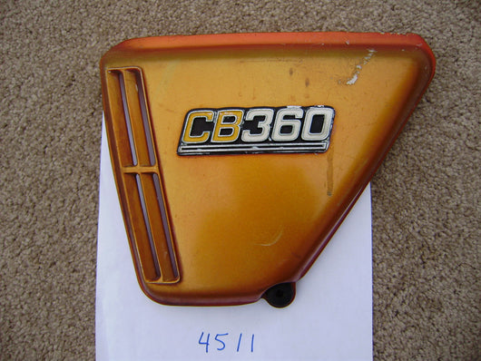 Honda CB360 orange left sidecover sku 4511
