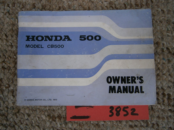 Honda CB500K2  Four Owners manual 1972 sku 3852