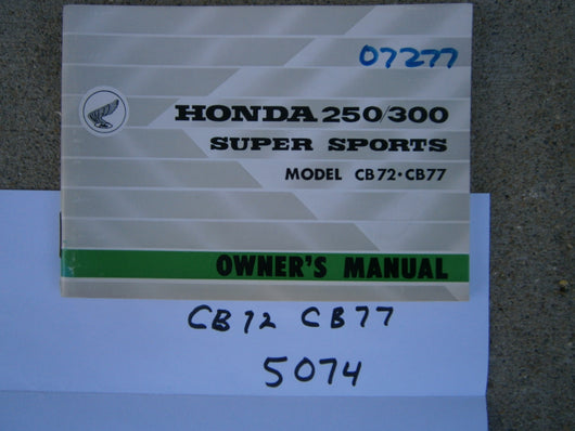 Honda CB72 CB77 NOS Owners Manual 5074