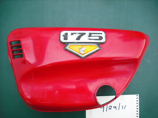 Honda CL175 Sidecover left red with badge 2000