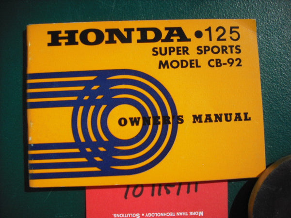 Honda CB92 Benly Sport 125cc Owners Manual 2013
