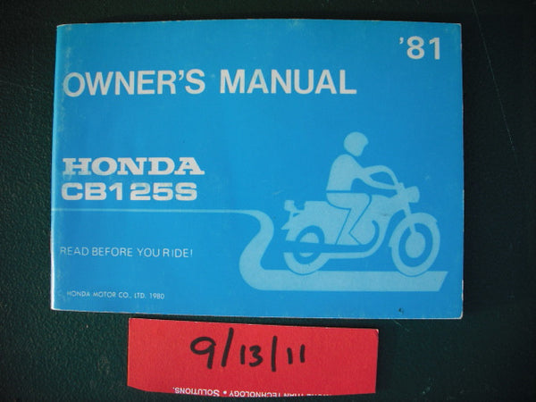 Honda CB125S 1980 Manual sku 1992
