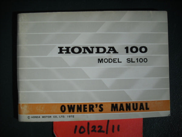 Honda SL100K2 Owners Manual NOS sku 2021