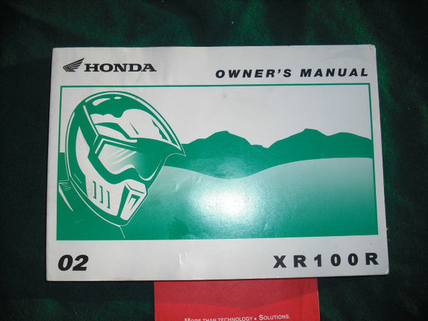 Honda XR100R 2002 Owners Manual sku 2029