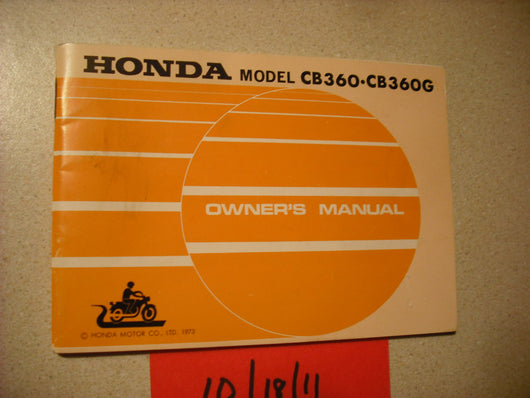 Honda CB360 CB360G 1974 Owners Manual 2016