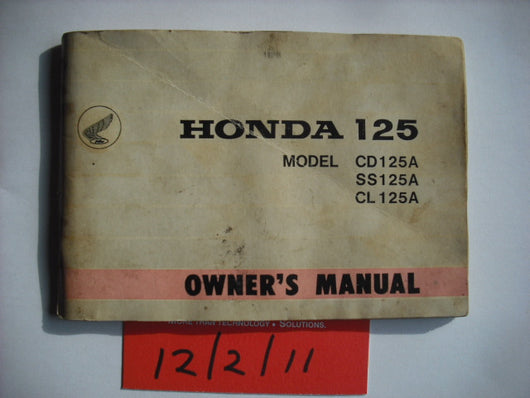 Honda  SS125A CL125A CD125A Owners Manual
