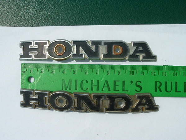 Honda CB100 SL100 SL350 Metal Gas Tank Badge Pair 1100