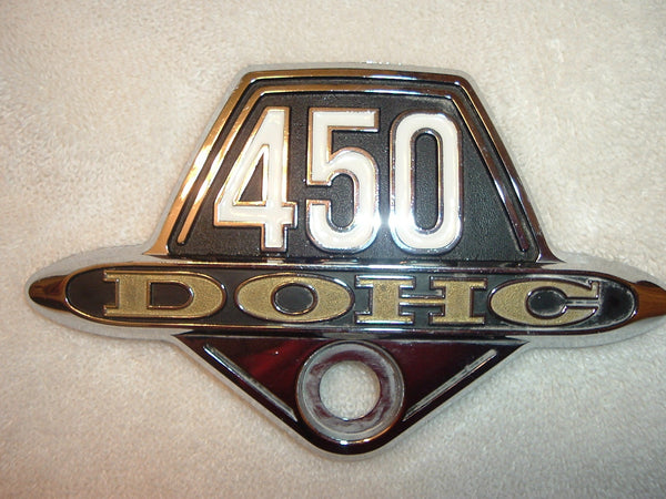Honda CB450 Sidecover Badge Red Gold Trim 1975 Model Year 1238