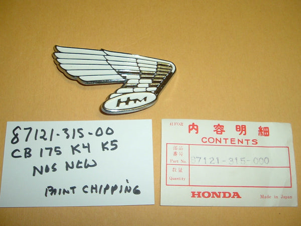 Honda CB175 gas tank wing New old stock 87121-315-000   sku 1122
