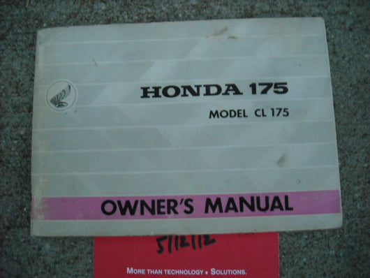 Honda CL175 1967 Owners Manual 3186