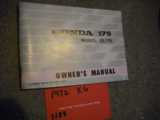 Honda CL175 K6 1972  Owners Manual   3188
