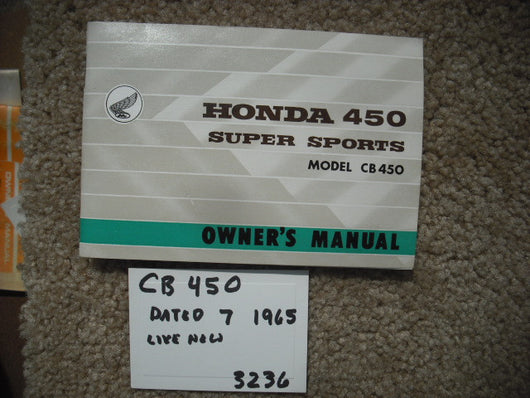 Honda CB450K0 Owners Manual Black Bomber 1965 NOS New sku 3236