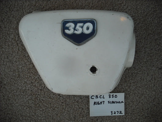 Sold Honda CL350K0K1 Right White Sidecover with emblem