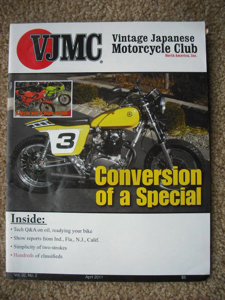 VJMC Magazine Cover: Yamaha XS650 April 2011