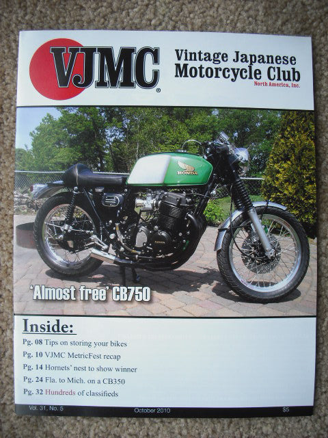 VJMC Magazine Cover: Honda CB750 Almost Free October 2010