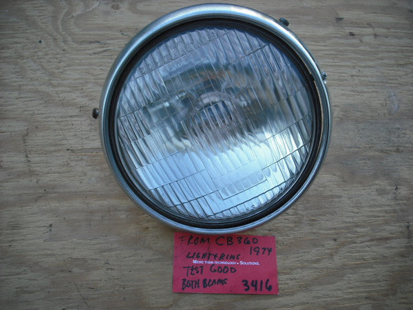 Honda CB360 CL360 Headlight with Chrome Ring Tested Good  3416