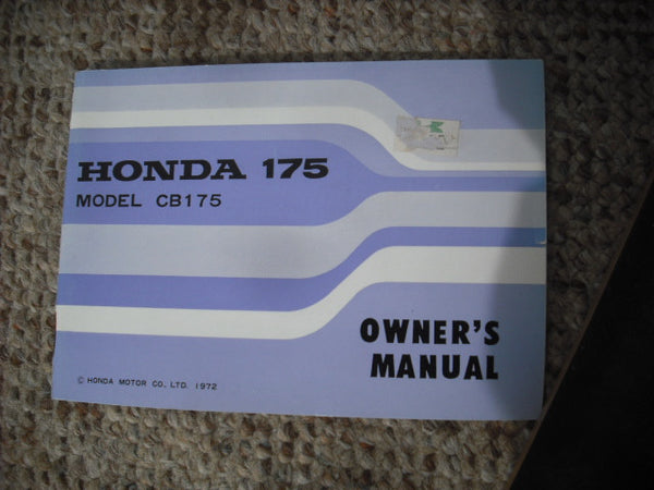 Honda CB175 1973 NOS New Manual 3849