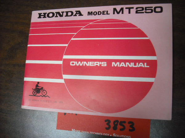 Honda MT250 Owners Manual NOS 1973 sku 3853