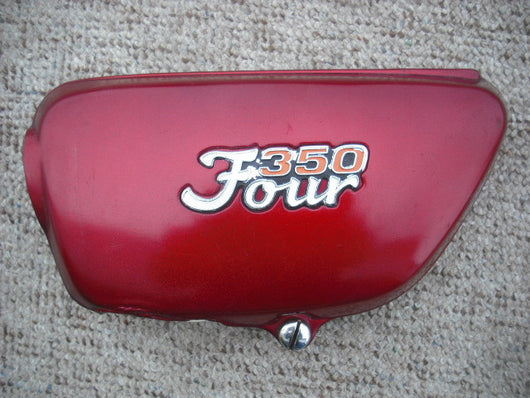 Honda CB350F Four red Left Sidecover w/badge 3839