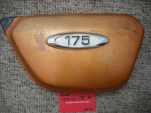 Honda CL175 1970 rt sidecover candy  topaz orange with badge