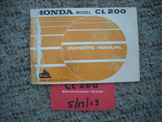 Sold Honda CL200 1974 Owners Manual