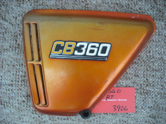 Honda CB360 candy topaz orange lft sidecover with badge 3908
