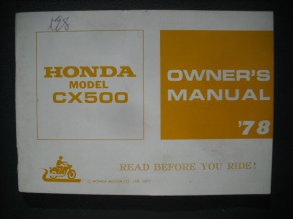 Honda CX500 1978 Owners Manual 3926