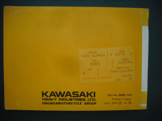Kawasaki F9-C 350 cc Owners Manual 99997-841 sku 3923