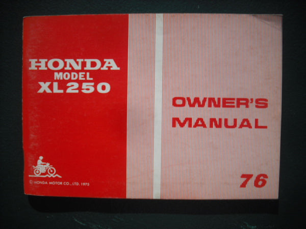 Honda XL250 1976 manual New Old Stock 3931