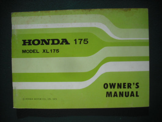 Honda XL175 1973 Owners Manual 3930