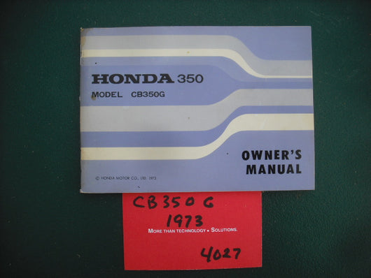 Honda CB350G NOS Owners Manual 4027
